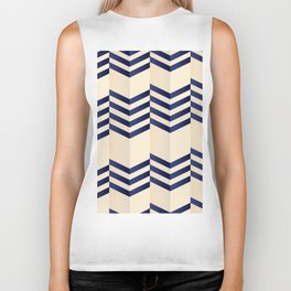 Offset Thin Dark Blue Chevron Stripes on Cream Biker Tank