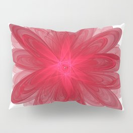 Red Flower Bloom Fractal Pillow Sham