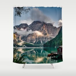 Italy mountains lake Shower Curtain