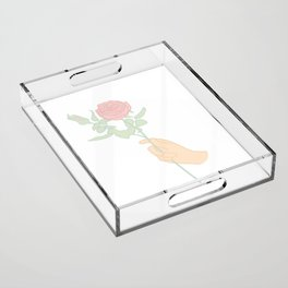 Minimal Hand Holding Rose Illustration Acrylic Tray