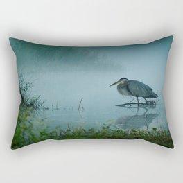 Blue Heron Misty Morning Rectangular Pillow