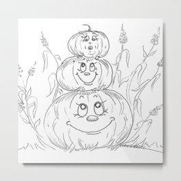 Pumpkin Totem Metal Print