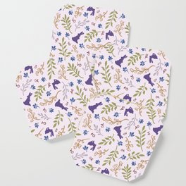 Ditsy Bunnies Amok - Purple Bunnies, Pink Background Coaster