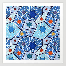 Hanukkah Stars of David in Dark Blues Art Print
