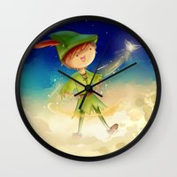 peter pan Wall Clocks featuring Peter Pan by CodiBear