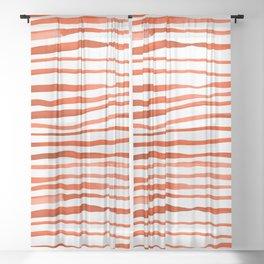 Irregular watercolor lines - orange Sheer Curtain
