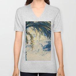 Tropical Palm Tree Blue by CheyAnne Sexton Unisex V-Neck