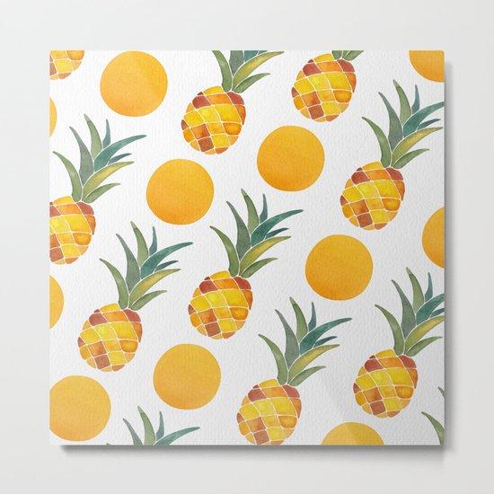 Pineapple Dot Pattern Metal Print
