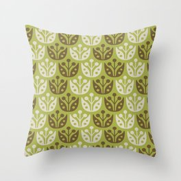 Mid Century Modern Flower Pattern Chartreuse and Brown 112 Throw Pillow
