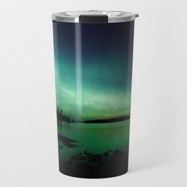 Northern lights lake landscape in Finland Travel Mug