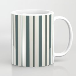 Night Watch Color of the Year PPG1145-7 Thick and Thin Vertical Stripes on Horseradish Off White Coffee Mug