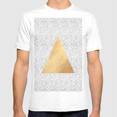Gold Triangle Print MEDIUM White Mens Fitted Tee
