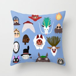 The many faces of Ghibli Throw Pillow