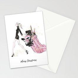 Merry Christmas Fashion Illustration - Blonde Hair Option Stationery Cards