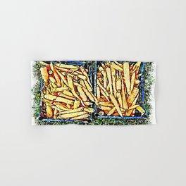 Hortus Conclusus: two blue crates of carrots Hand & Bath Towel