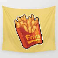fries Wall Tapestries featuring Pixel Fries by TheSkywaker