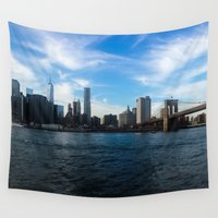 new york skyline Wall Tapestries featuring New York Skyline - Color by Nicklas Gustafsson