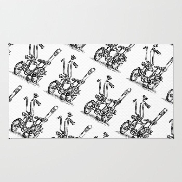 Skull Shifter Muscle Bike - Cartoon Retro Mod Stingray Bicycle Rat Rod Rug