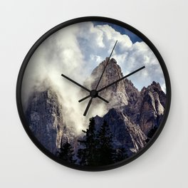 Mystical Mountains in Clouds, Landscape Nature Photography Wall Clock