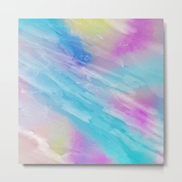 Hand painted abstract pink teal watercolor pattern Metal Print