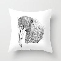 walrus Throw Pillows featuring Walrus by MattLeckie