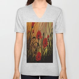 Red Poppies 8 Unisex V-Neck