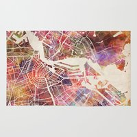 amsterdam Area & Throw Rugs featuring Amsterdam by MapMapMaps.Watercolors