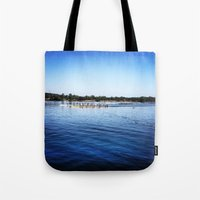 animal crew Tote Bags featuring Crew  by Lindsay Jackson-Moses