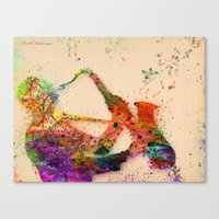 saxophone Canvas Prints featuring music saxophone by mark ashkenazi