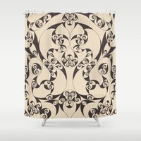 skyrim Shower Curtains featuring Celtic Loops Natural by Astrablink7