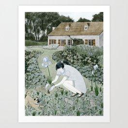 Planting Irises Art Print