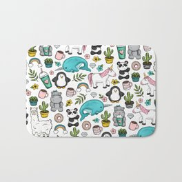 Girly Icon Art, Narwhals, Pandas, Llamas, Unicorns, Penguins and Baby Hippos, Emoji Tween Girl Art Bath Mat