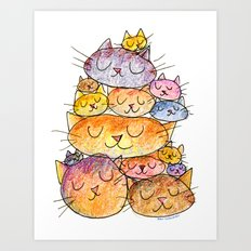 Sleeping Cats Art Print