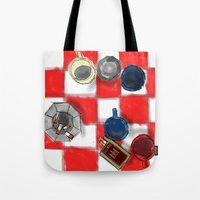 cigarettes Tote Bags featuring Coffee and Cigarettes by The Strawbridge Collective
