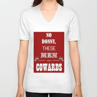 big lebowski V-neck T-shirts featuring Cowards (Big Lebowski) by thebuccanear