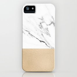 White Marble with Black and Copper Bronze iPhone Case