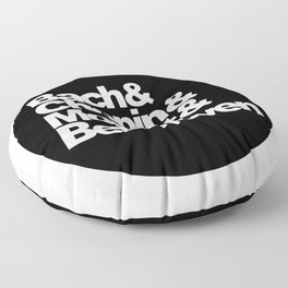 Bach and Chopin and Mozart and Beethoven, sticker, circle, black Floor Pillow