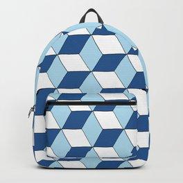 "Motif ""cubes bleu ciel, bleu marine et blanc"" Backpack"