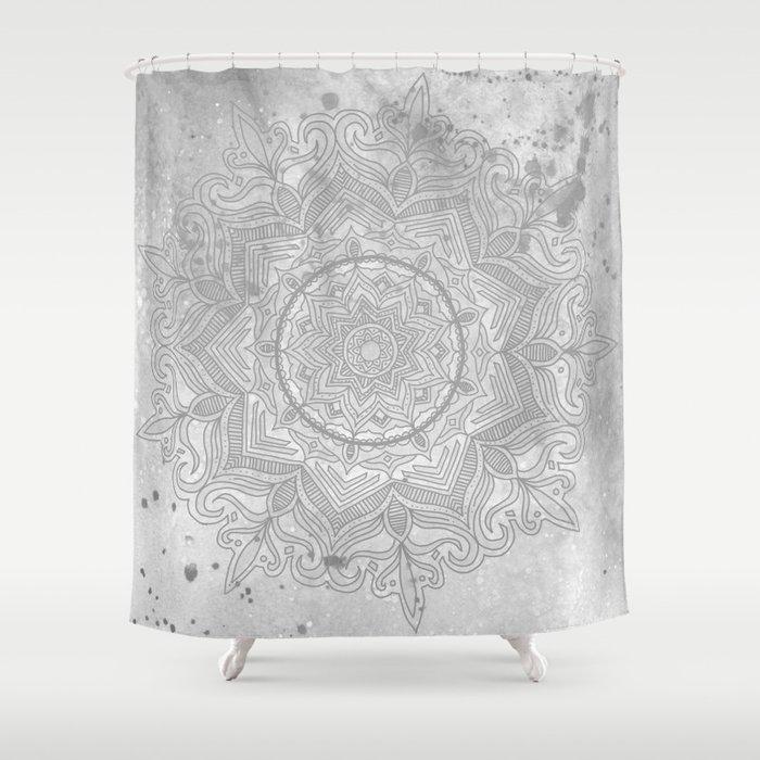 Gray Splash Mandala Swirl Boho Shower Curtain