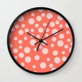 Living Coral Polka Dot Party Wall Clock