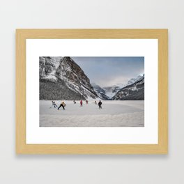 Shinny at Lake Louise Framed Art Print