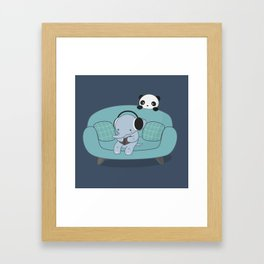 Kawaii Elephant And Panda Framed Art Print