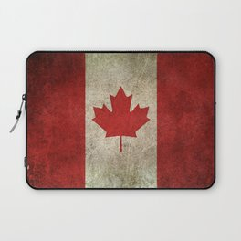 Old and Worn Distressed Vintage Flag of Canada Laptop Sleeve