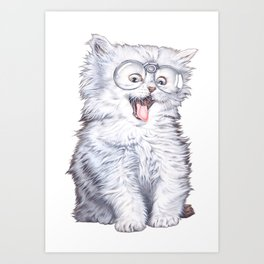 A cat with glasses Art Print