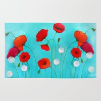 poppies Area & Throw Rugs featuring Poppies by Sybile Art