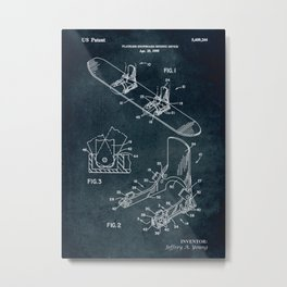 1995 - Plateless snowboard binding device patent art Metal Print
