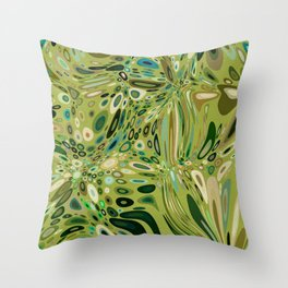 SOYLENT textured abstract in shades of green - lime to emerald Throw Pillow