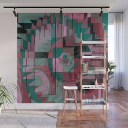 geometric abstract graphic design, red green pink black Wall Mural