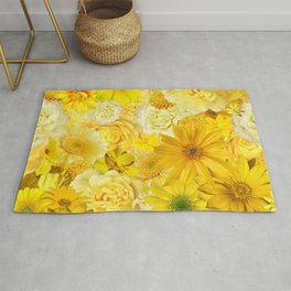 yellow rose bouquet with gerbera daisy flowers Rug