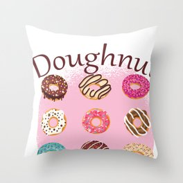 Funny Donut design - Doughnut Worry - Funny Sayings graphic Throw Pillow